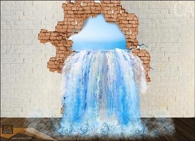 ภาพวาด 3D น้ำทะลุกำแพง
