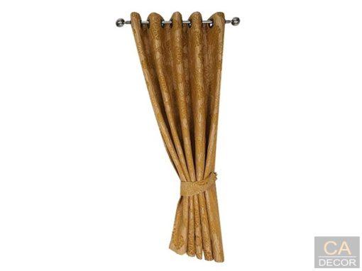 ผ้าม่านสำเร็จรูป สีน้ำตาล ทอง รุ่น ชบาแก้ว